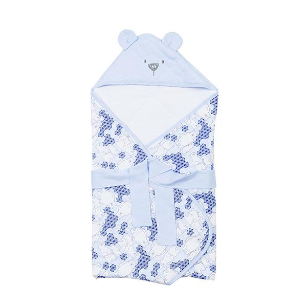 【愛的世界】LOVEWORLD 北極熊造型鋪棉抱巾-藍-台灣製-