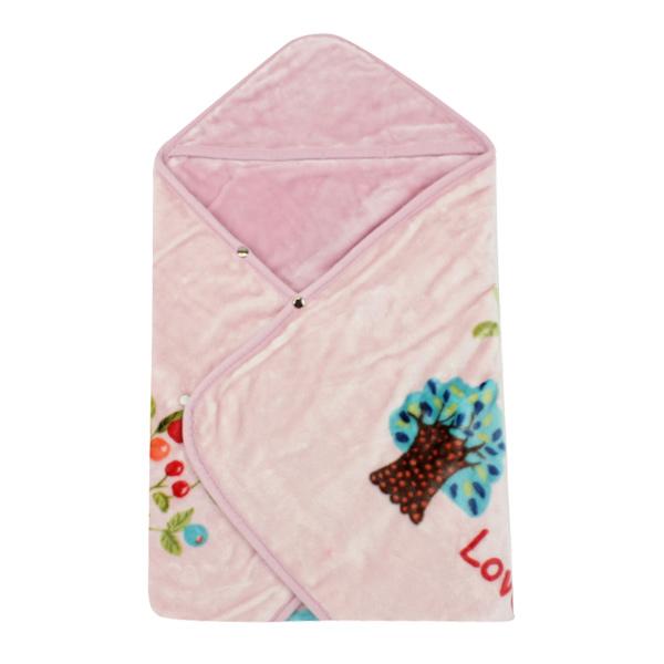 【愛的世界】LOVEWORLD 貓頭鷹兩用式毛毯三角帽抱巾-粉/90*90CM