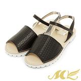 MK-台灣製真皮系列-韓系鬆緊設計平底涼鞋-黑色