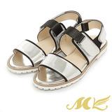 MK-台灣製真皮系列-素面百搭休閒一字平底涼鞋-銀色
