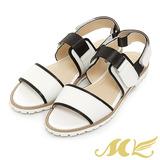 MK-台灣製真皮系列-素面百搭休閒一字平底涼鞋-白色