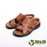 【W&M】寬帶防滑軟墊兩用涼拖鞋 男鞋-棕(另有咖)