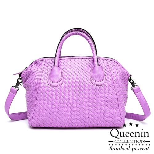 DF Queenin日韓 - 日系編織款大容量2用式貝殼包-紫色