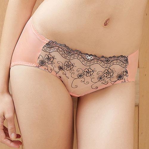 【EASY SHOP】花采香芬 中低腰三角褲(粉嫩橙)