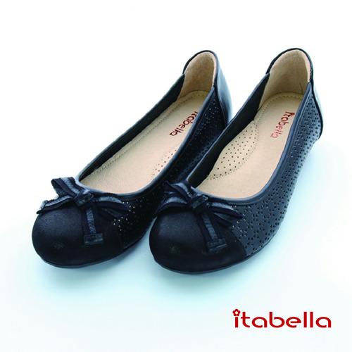 itabella.舒適Q軟羊皮洞洞包鞋(黑色)