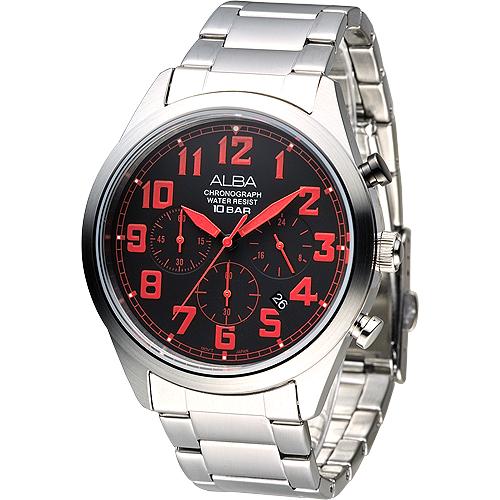ALBA 個性潮流三眼碼錶計時男錶-紅刻(AT3533X1)