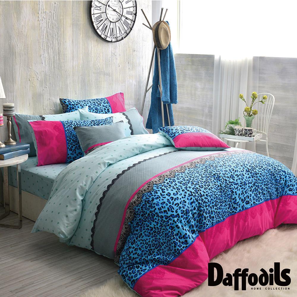 Daffodils 冰藍別玉 雙人三件式純棉床包組,精梳純棉/台灣精製
