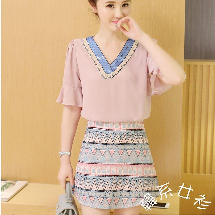 【韓系女衫】s~2xl亮片v領五分袖上衣+窄裙-粉衣款