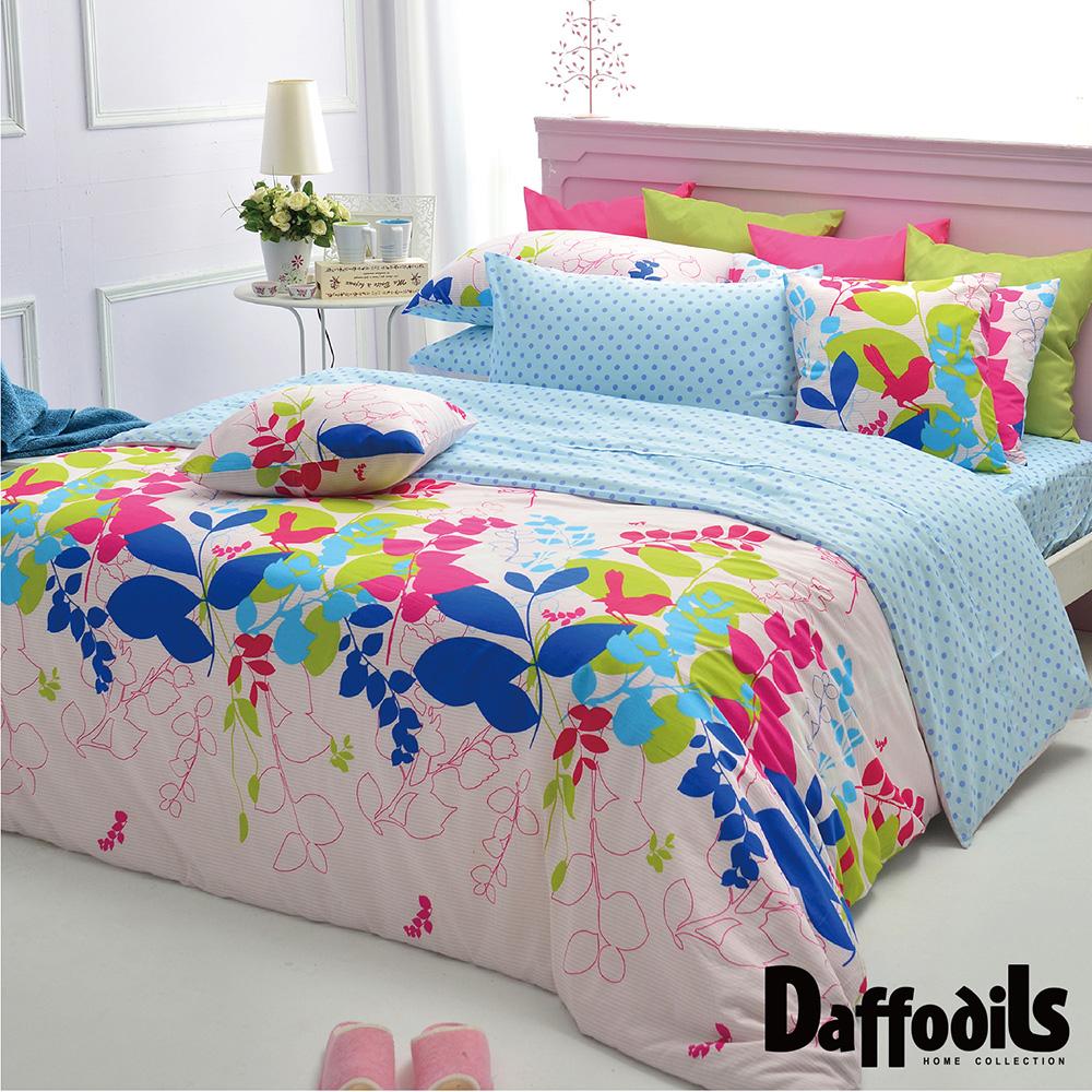 Daffodils 夏沐漾語 雙人加大三件式純棉床包組,精梳純棉/台灣精製