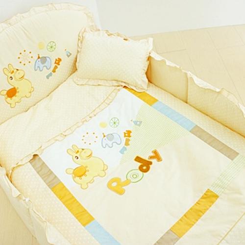 GMP BABY RODY 米色跳跳馬柔軟抗蹣菌棉嬰兒床七件組