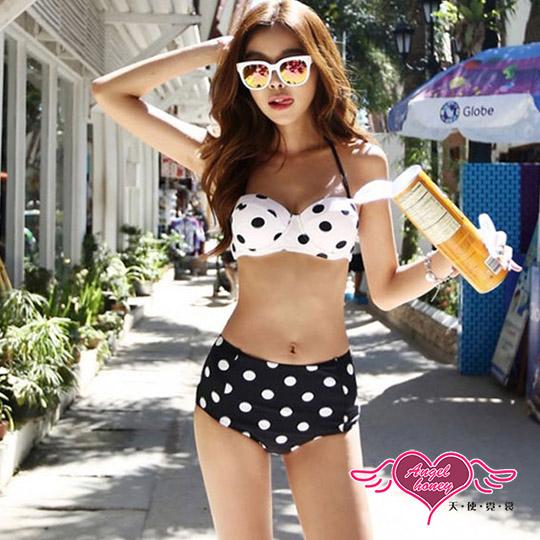 【天使霓裳】泳衣 圓點情人 兩件式比基尼泳衣(白黑M~XL)