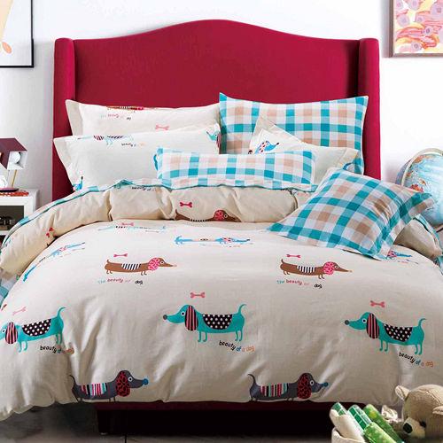 FOCA《懵懂時光》加大100%精梳棉四件式舖棉兩用被床包組