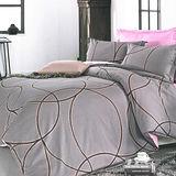 美夢元素 精梳棉涼被床包組 愛的痕跡 咖-雙人四件式