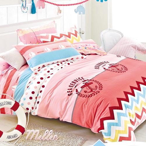 FOCA《綻漾青春》加大100%精梳棉四件式舖棉兩用被床包組