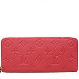 Louis Vuitton LV M60169 Clémence 經典花紋全皮革壓紋拉鍊長夾.紅 預購
