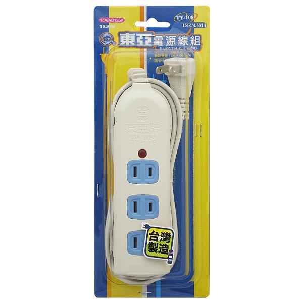 東亞 一燈四插座過載保護電源延長線 15尺 TY-108-15