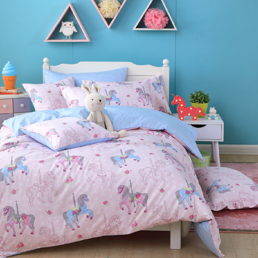 OLIVIA 《夢幻樂園 粉》 單人兩用被套床包三件組 品牌童趣系列
