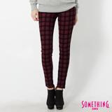 SOMETHING LADIVA 格紋合身窄直筒色褲-女-朱紅
