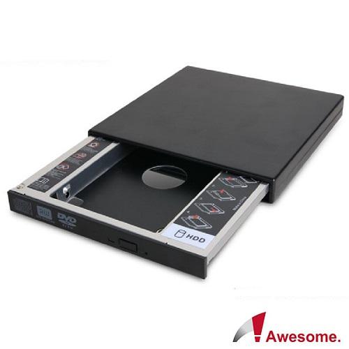 Awesome筆電升級 9.5mm硬碟 SATA 托盤模組+外接盒套件-AWD~1S1B