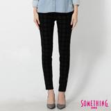 SOMETHING LADIVA 格紋合身窄直筒色褲-女-黑灰