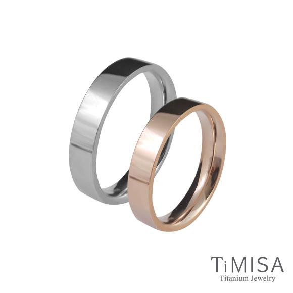 【TiMISA】簡約時尚-細版 玫瑰金 純鈦對戒
