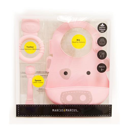 【MARCUS&MARCUS】動物樂園矽膠哺育禮盒組-粉紅豬
