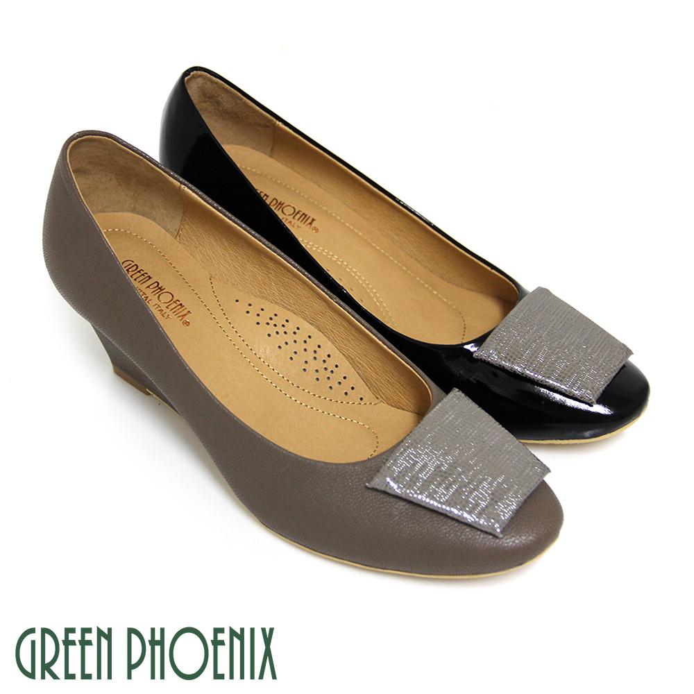 【GREEN PHOENIX】BIS-VITAL 金屬感梯形義大利山羊皮楔型包鞋