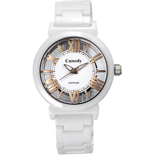 Canody 浮雕時尚 雙鏤空羅馬陶瓷腕錶-白x玫瑰金/ 35mm/ CB1220-3B
