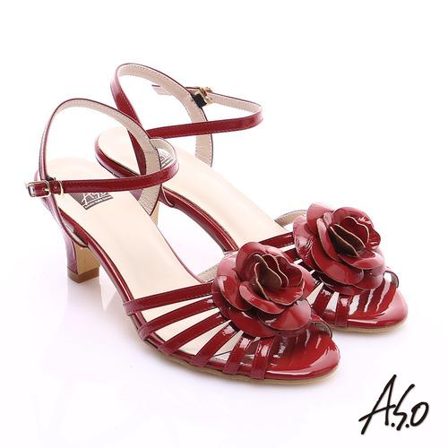 A.S.O 氣質名媛 立體山茶花細條帶涼鞋(紅)