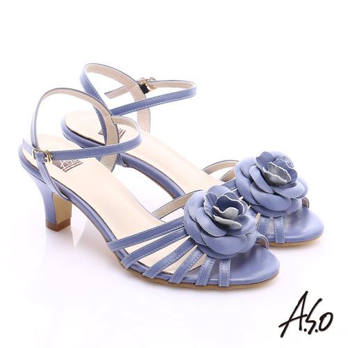A.S.O 氣質名媛 立體山茶花細條帶涼鞋(紫)