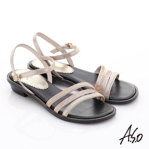 A.S.O 完美涼夏 真皮閃亮鑽飾細條帶涼鞋(橘)