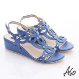A.S.O 玩美涼夏 鏡面牛皮鏤空花朵鉚釘楔型涼鞋(藍)