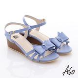 A.S.O 玩美涼夏 牛皮立體蝴蝶結楔型涼鞋(淺紫)