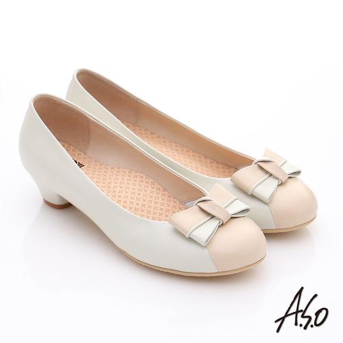 A.S.O 3E舒活寬楦 全真皮立體蝴蝶奈米低跟鞋(卡其)