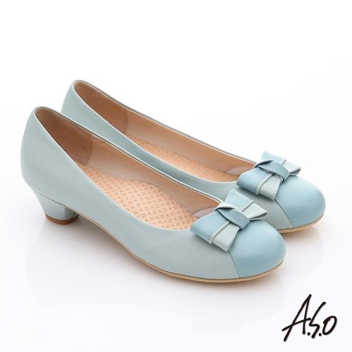 A.S.O 3E舒活寬楦 全真皮立體蝴蝶奈米低跟鞋(淺藍)
