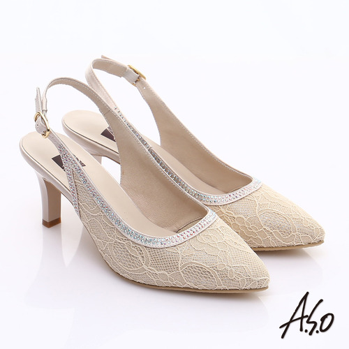 A.S.O 甜蜜樂章 蕾絲緞布水鑽繫帶高跟涼鞋(金)