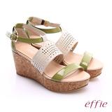 effie 摩登美型 羊皮拼接配色飾扣楔型涼鞋(綠)