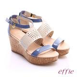 effie 摩登美型 羊皮拼接配色飾扣楔型涼鞋(紫)