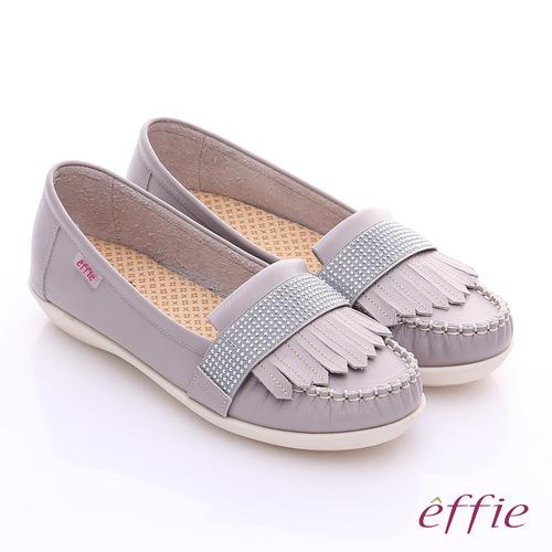effie 縫線包仔鞋 牛皮流蘇水鑽織帶奈米休閒鞋(灰)