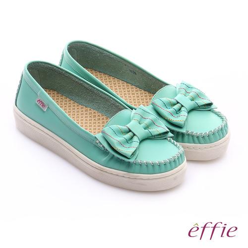 effie 縫線包仔鞋 大蝴蝶結彩色車線奈米休閒鞋(綠)