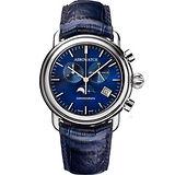 AEROWATCH 太陽飾紋經典月相計時腕錶-藍/42mm A84934AA05