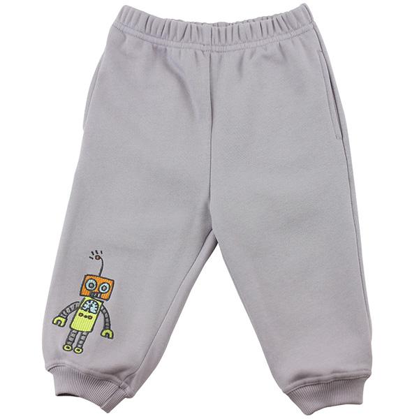 【愛的世界】LOVEWORLD 機器人系列束口鬆緊帶長褲-灰色/6~12歲-台灣製-