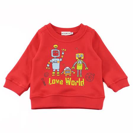 愛的世界 機器人系列純棉圓領長袖上衣