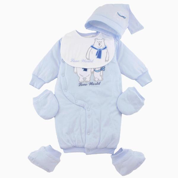 【愛的世界】LOVEWORLD 北極熊系列鋪棉兩用連身衣禮盒/3~6個月-台灣製-