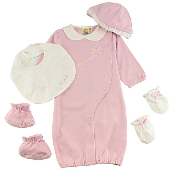 【愛的世界】MYBABY 玫瑰小熊系列純棉兩用嬰衣禮盒/3~6個月-台灣製-