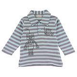 【愛的世界】LOVEWORLD 機器人系列純棉條紋長袖POLO衫-藍灰/1~4歲-台灣製-