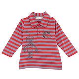 【愛的世界】LOVEWORLD 機器人系列純棉條紋長袖POLO衫-紅灰/1~4歲-台灣製-