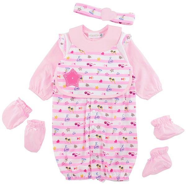 【愛的世界】LOVEWORLD 海邊假期系列橫紋圍兜兩用嬰衣/3個月~1歲-台灣製-