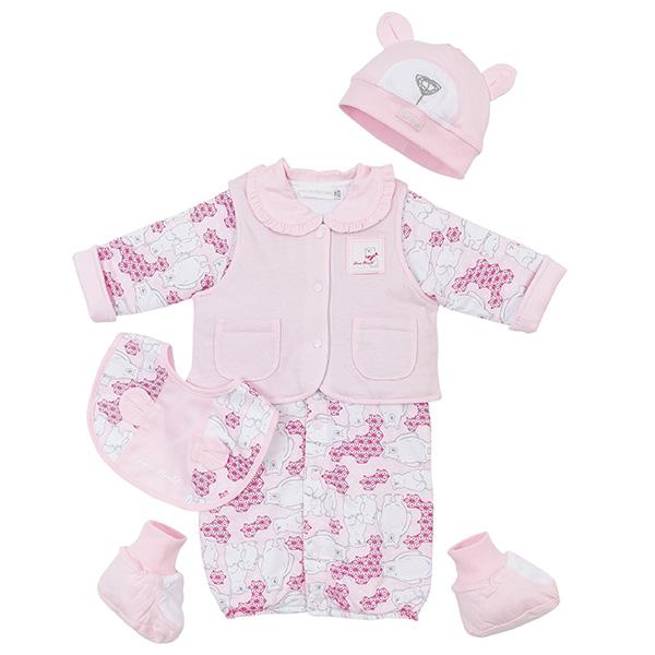 【愛的世界】LOVEWORLD 北極熊系列鋪棉印花兩用嬰衣禮盒/3~6個月-台灣製-