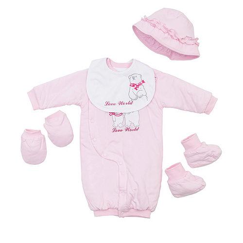 【愛的世界】LOVEWORLD 北極熊系列鋪棉兩用嬰衣禮盒/3~6個月-台灣製-